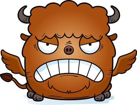 A cartoon illustration of a buffalo with wings looking angry.