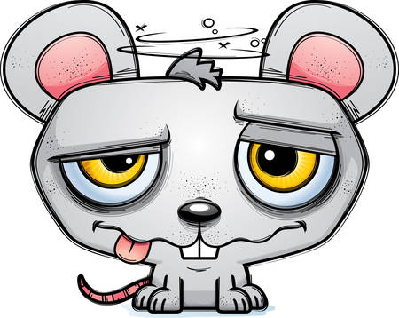 A cartoon illustration of a mouse looking intoxicated.