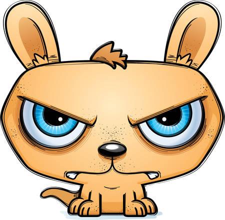 A cartoon illustration of a little kangaroo looking mad.