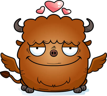 A cartoon illustration of a buffalo with wings in love.