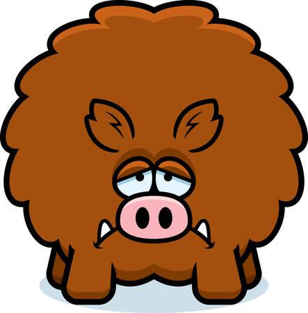 A cartoon illustration of a boar looking sad. Ilustração