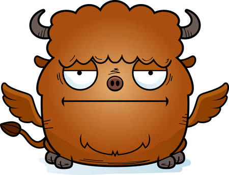 A cartoon illustration of a buffalo with wings looking bored. 向量圖像