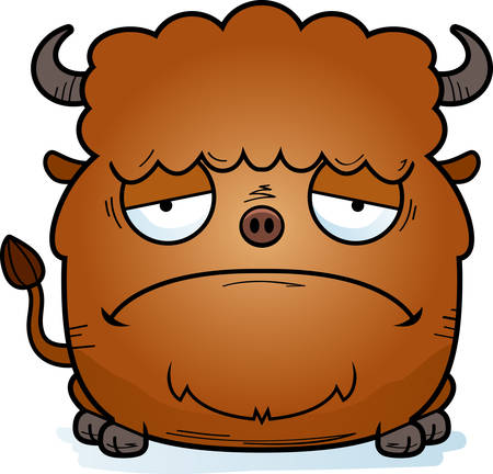 A cartoon illustration of a bison looking sad. Illustration