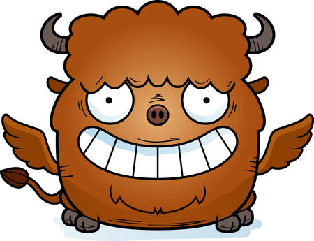A cartoon illustration of a buffalo with wings looking happy. Illustration
