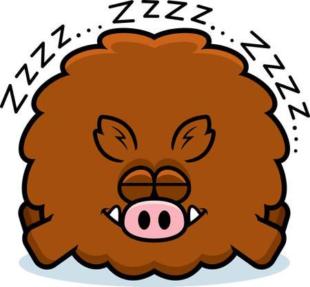 A cartoon illustration of a boar sleeping.