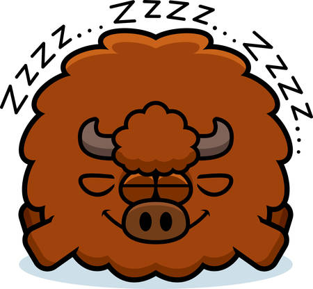 A cartoon illustration of a buffalo sleeping. Banque d'images - 101916624