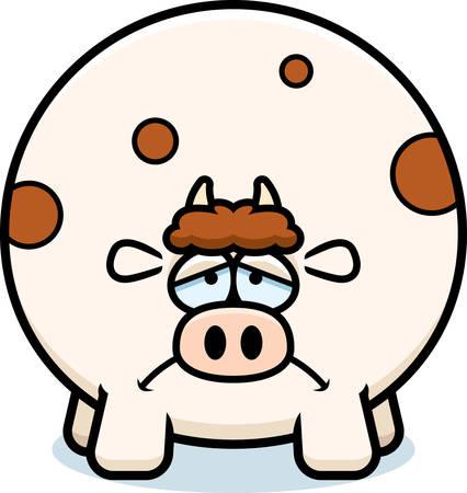 A cartoon illustration of a cow looking sad. Иллюстрация