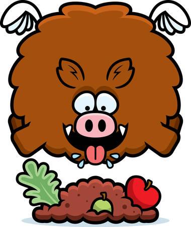 A cartoon illustration of a boar eating. Illustration