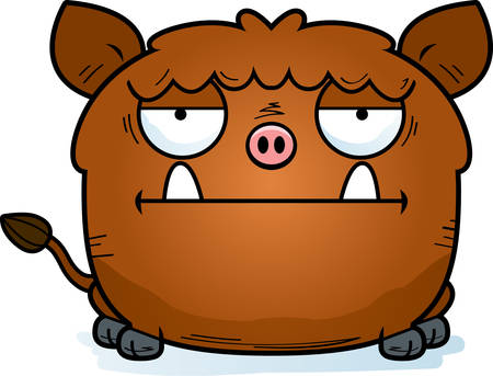 A cartoon illustration of a boar looking bored.