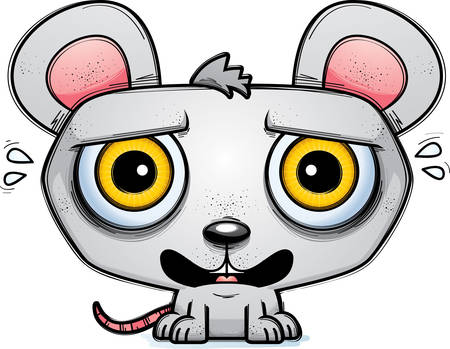 A cartoon illustration of a mouse looking terrified. Çizim