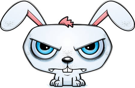 A cartoon illustration of a rabbit looking mad.