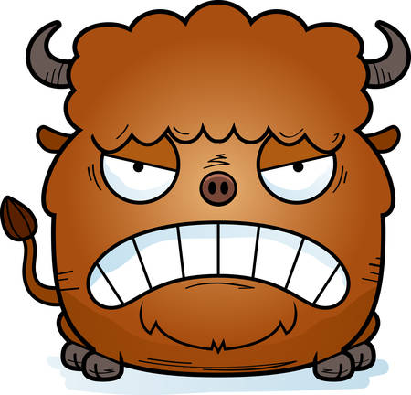 A cartoon illustration of a bison looking angry.