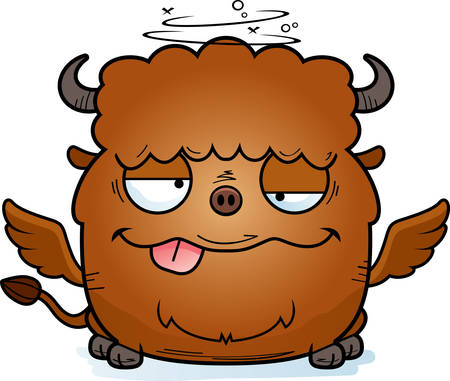 A cartoon illustration of a buffalo with wings looking drunk. Illustration
