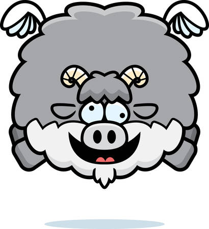 A cartoon illustration of a goat looking crazy.