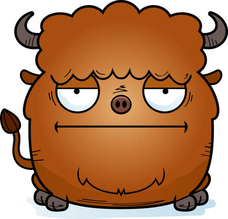 A cartoon illustration of a bison looking bored.