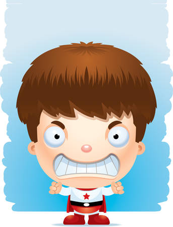 A cartoon illustration of a boy superhero with an angry expression.