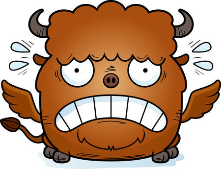 A cartoon illustration of a buffalo with wings looking scared.