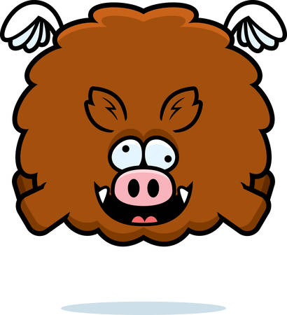 A cartoon illustration of a boar looking crazy.