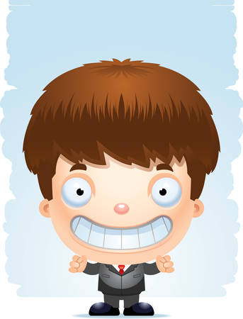 A cartoon illustration of a boy in a suit standing and smiling.