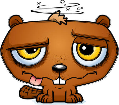 A cartoon illustration of a beaver looking intoxicated.  イラスト・ベクター素材