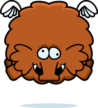 A cartoon illustration of a woolly mammoth looking crazy. Illustration
