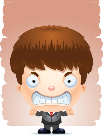 A cartoon illustration of a boy in a suit looking angry.
