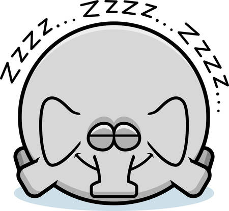 A cartoon illustration of an elephant sleeping. Banque d'images - 101920822