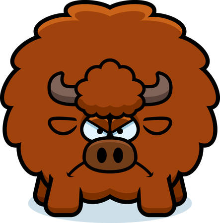 A cartoon illustration of a buffalo looking angry.