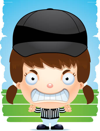 A cartoon illustration of a girl referee with an angry expression.