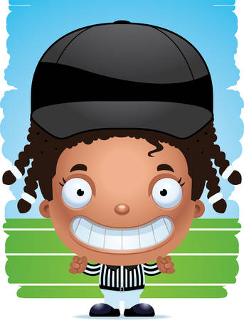 A cartoon illustration of a girl referee smiling.