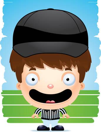 A cartoon illustration of a boy referee smiling.