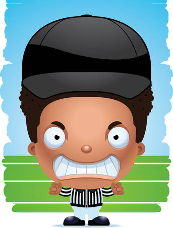 A cartoon illustration of a boy referee with an angry expression. Illustration