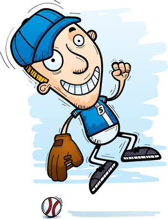 A cartoon illustration of a man baseball player jumping. Illustration