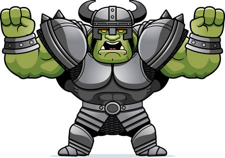 A cartoon illustration of an Orc warrior looking angry.