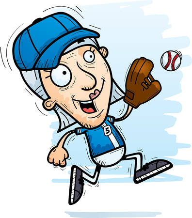 A cartoon illustration of a senior citizen woman baseball player running.