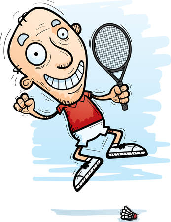 A cartoon illustration of a senior citizen man badminton player jumping.