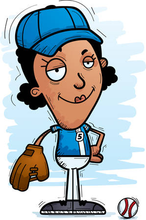 A cartoon illustration of a black woman baseball player looking confident.