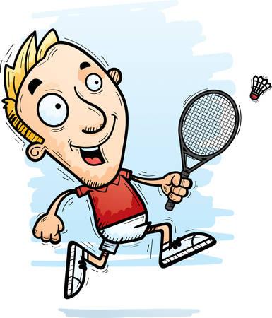 A cartoon illustration of a man badminton player running.