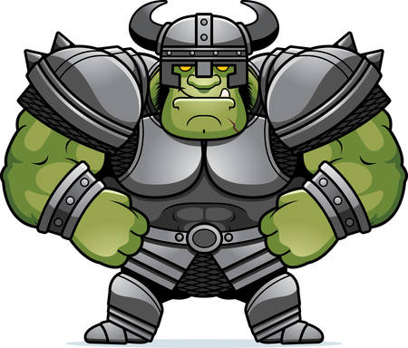A cartoon illustration of an Orc warrior looking confident.