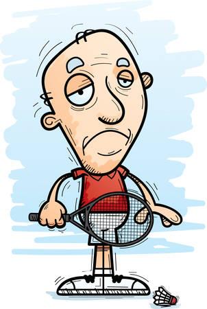 A cartoon illustration of a senior citizen man badminton player looking sad.