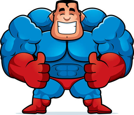 A cartoon illustration of a superhero with thumbs up. 向量圖像