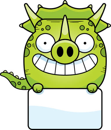 A cartoon illustration of a little Triceratops dinosaur with a white sign. 일러스트