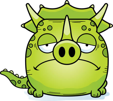 A cartoon illustration of a little Triceratops dinosaur with a sad expression.