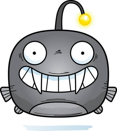 A cartoon illustration of a viperfish looking happy.