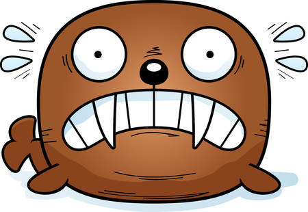A cartoon illustration of a walrus looking scared.