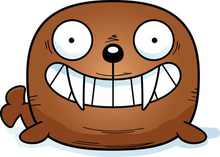A cartoon illustration of a walrus looking happy.