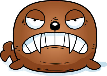 A cartoon illustration of a walrus looking angry.