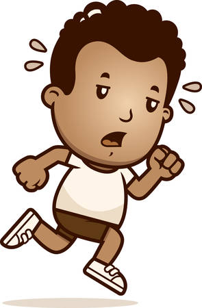 A cartoon illustration of a boy running and looking exhausted. Banque d'images - 101915569