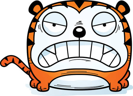 A cartoon illustration of a tiger looking angry.