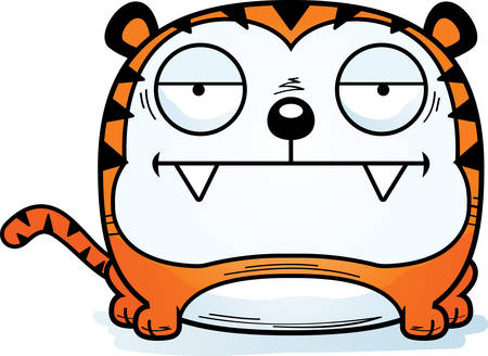 A cartoon illustration of a tiger looking bored. 向量圖像